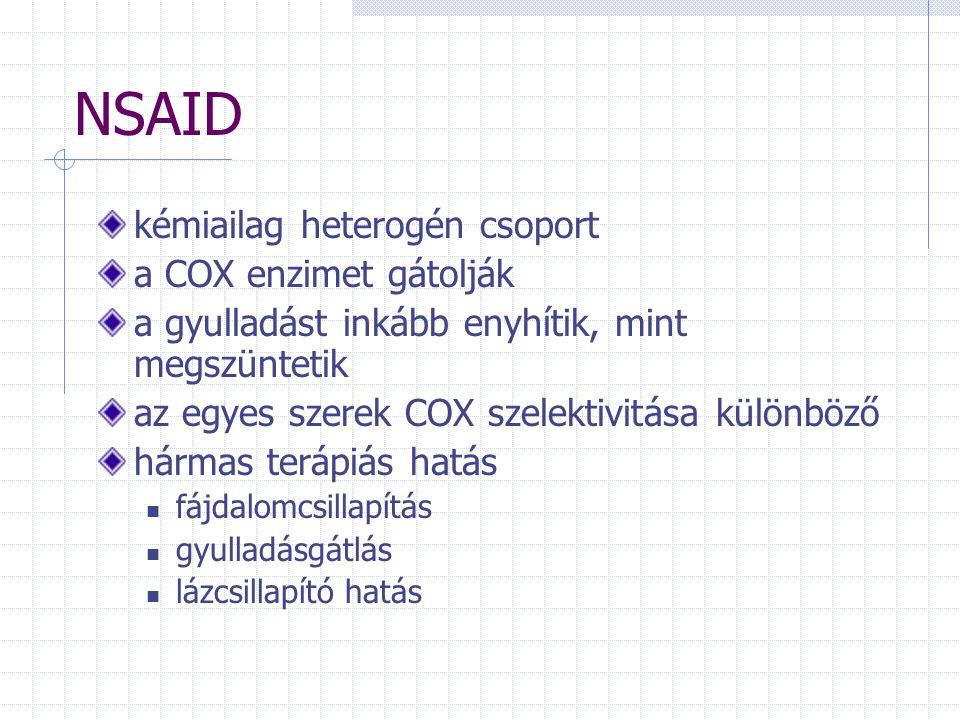 NSAID kémiailag heterogén csoport a COX enzimet gátolják