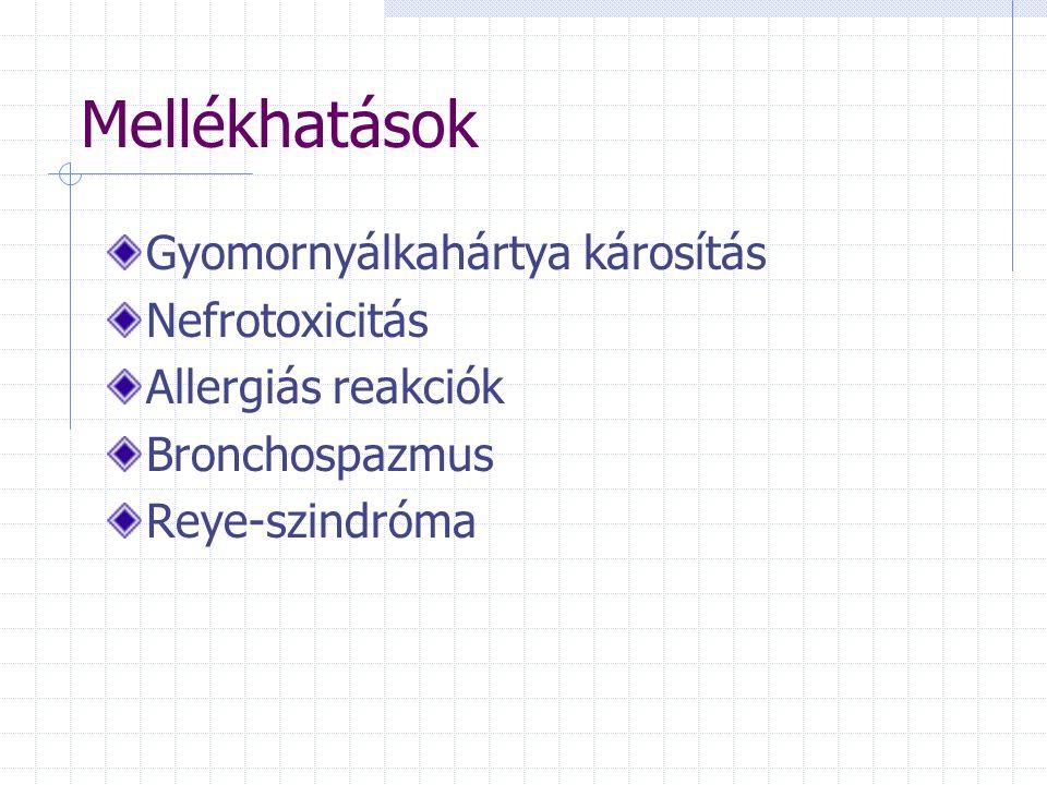 Mellékhatások Gyomornyálkahártya károsítás Nefrotoxicitás
