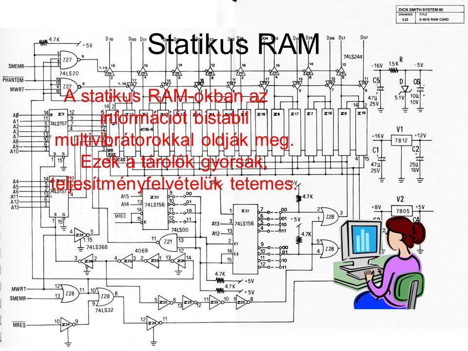 Statikus RAM A statikus RAM-okban az információt bistabil multivibrátorokkal oldják meg.
