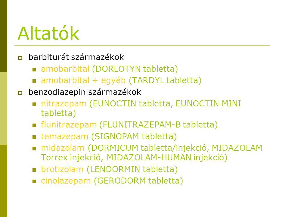Altatók barbiturát származékok amobarbital (DORLOTYN tabletta)