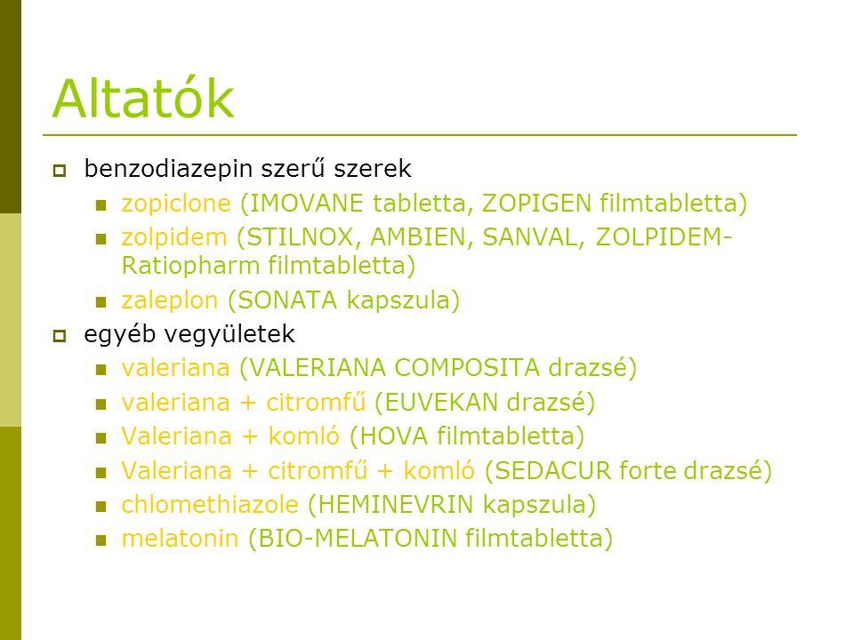 Altatók benzodiazepin szerű szerek