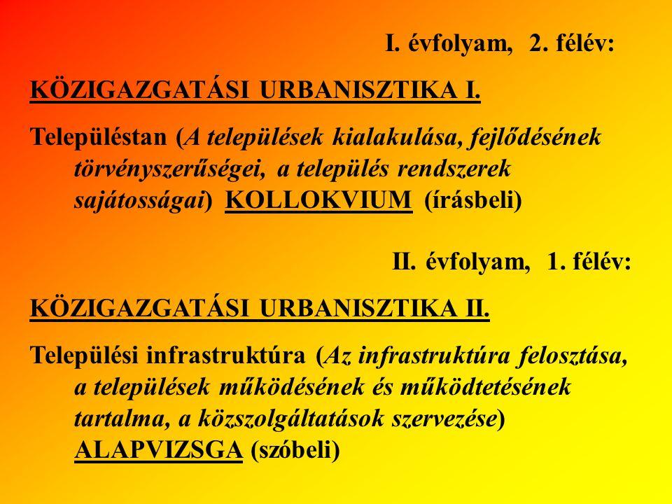 I. évfolyam, 2. félév: KÖZIGAZGATÁSI URBANISZTIKA I.