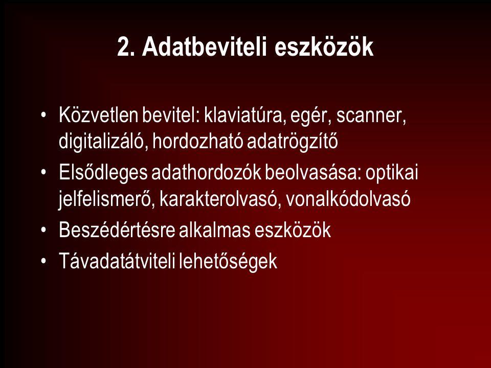 2. Adatbeviteli eszközök