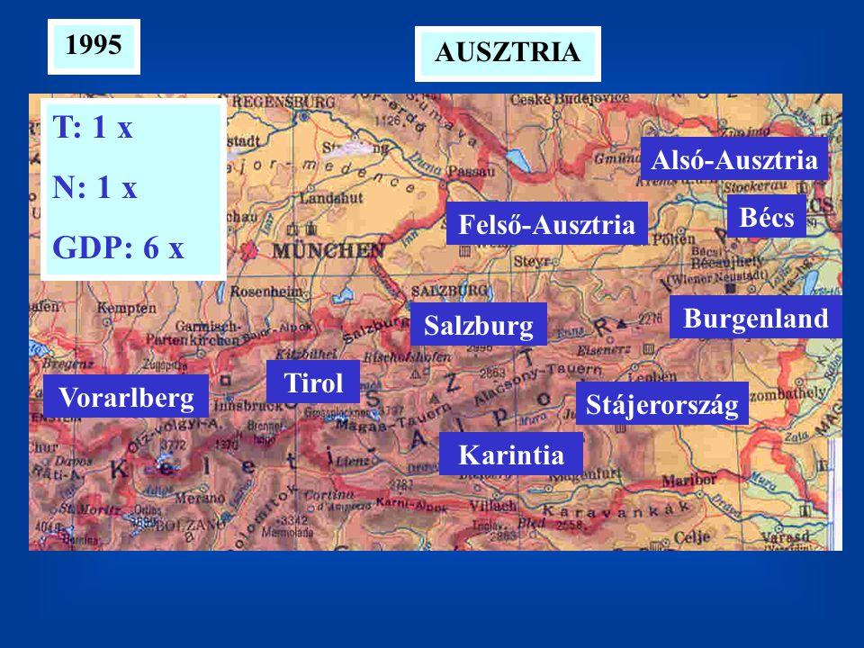 T: 1 x N: 1 x GDP: 6 x 1995 AUSZTRIA Alsó-Ausztria Bécs Felső-Ausztria
