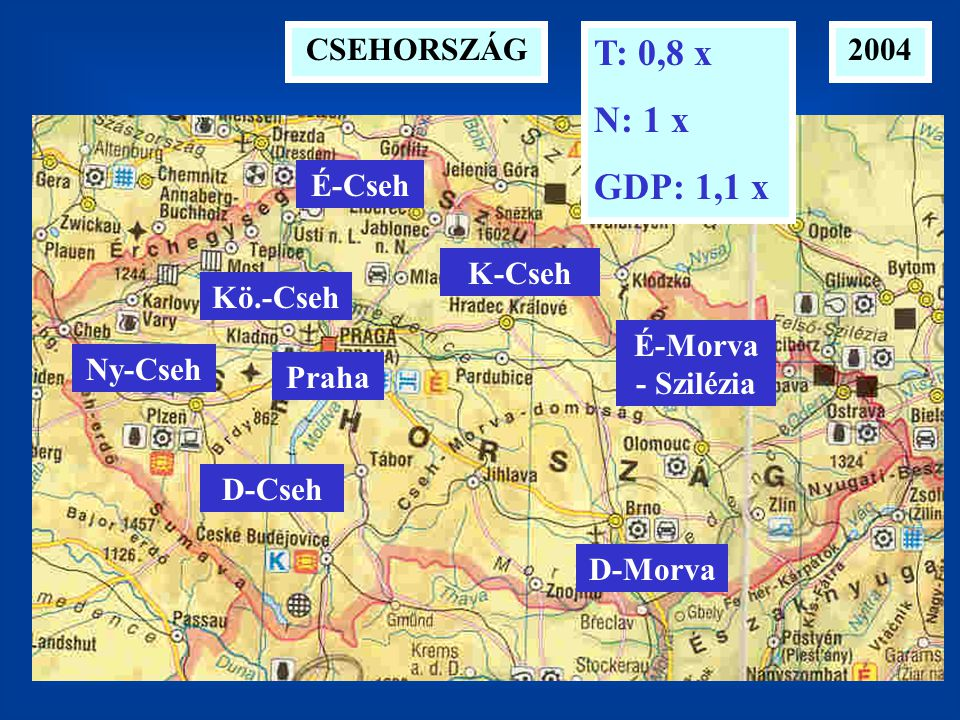 T: 0,8 x N: 1 x GDP: 1,1 x CSEHORSZÁG 2004 É-Cseh K-Cseh Kö.-Cseh