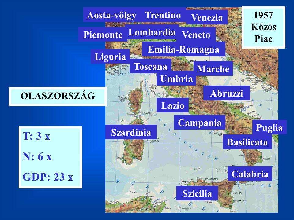 T: 3 x N: 6 x GDP: 23 x Aosta-völgy Trentino 1957 Közös Piac Venezia