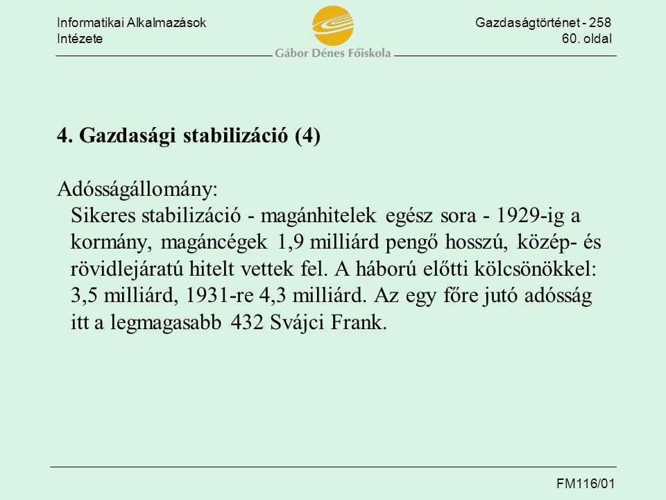 4. Gazdasági stabilizáció (4) Adósságállomány: