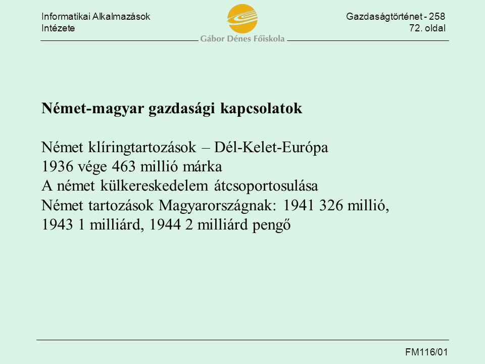 Német-magyar gazdasági kapcsolatok Német klíringtartozások – Dél-Kelet-Európa 1936 vége 463 millió márka A német külkereskedelem átcsoportosulása Német tartozások Magyarországnak: 1941 326 millió, 1943 1 milliárd, 1944 2 milliárd pengő