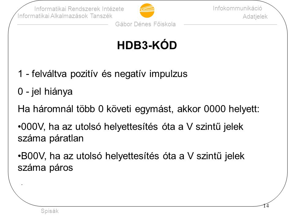 HDB3-KÓD 1 - felváltva pozitív és negatív impulzus 0 - jel hiánya