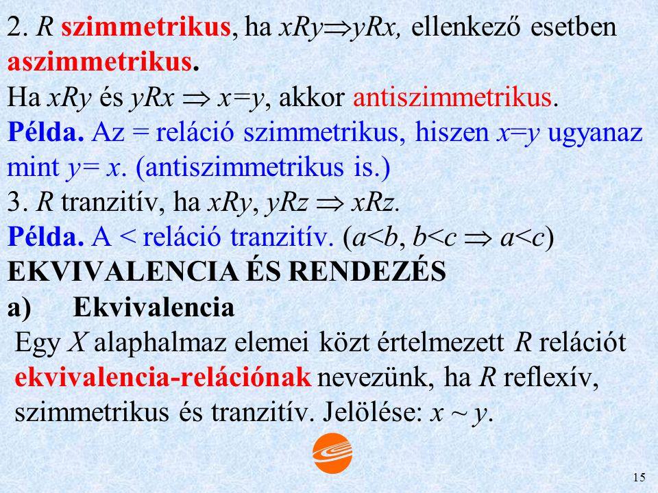 2. R szimmetrikus, ha xRyyRx, ellenkező esetben