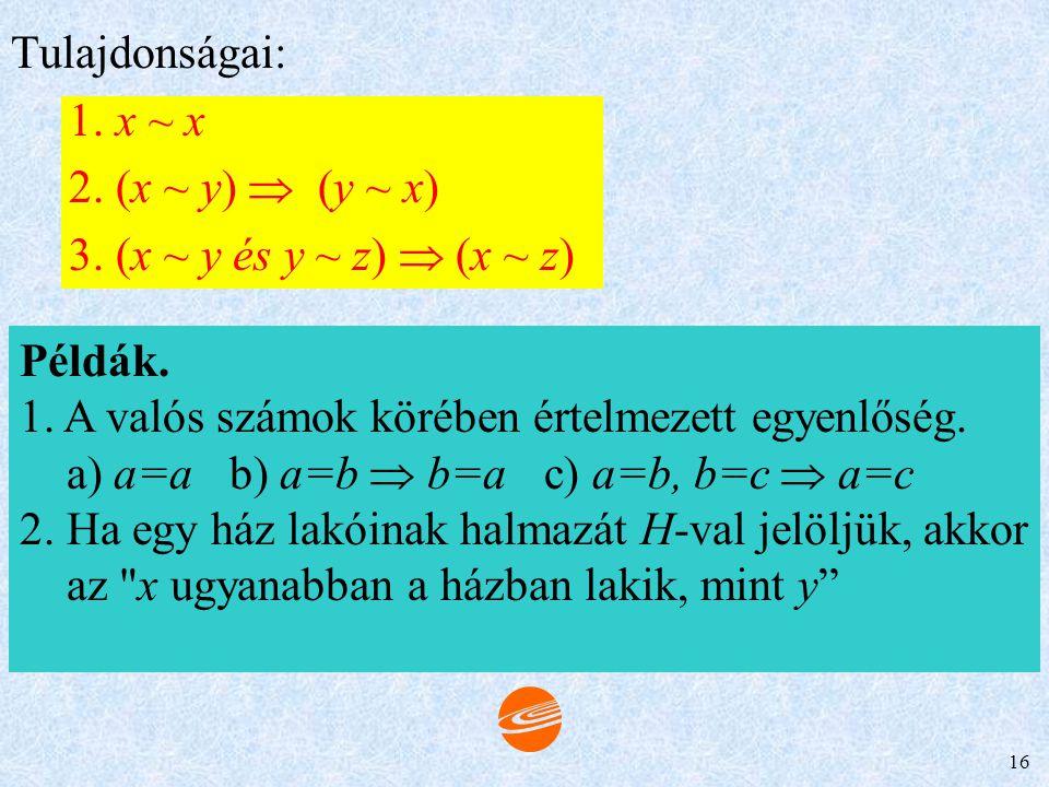 Tulajdonságai: 1. x ~ x. 2. (x ~ y)  (y ~ x) 3. (x ~ y és y ~ z)  (x ~ z) Példák. 1. A valós számok körében értelmezett egyenlőség.