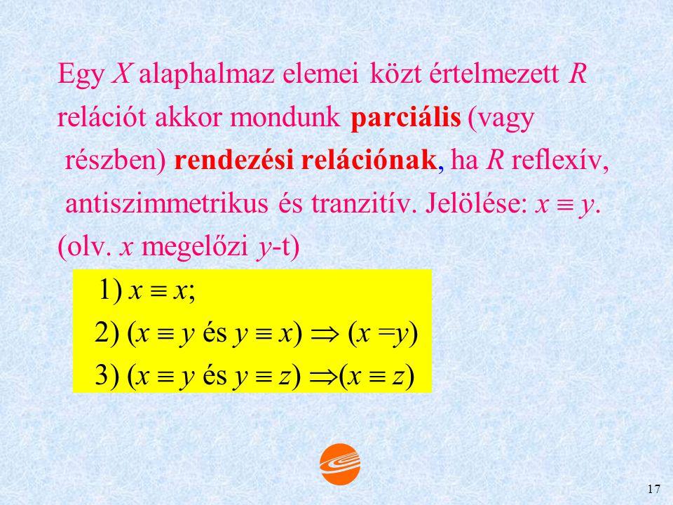 Egy X alaphalmaz elemei közt értelmezett R