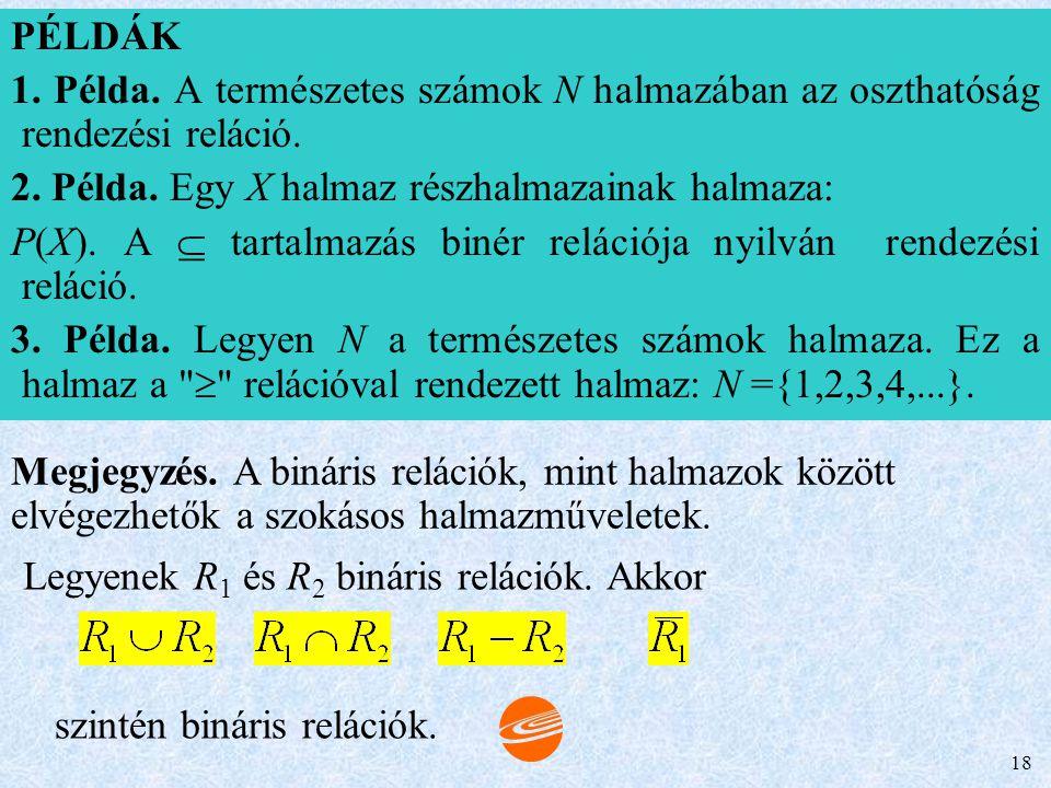 Legyenek R1 és R2 bináris relációk. Akkor