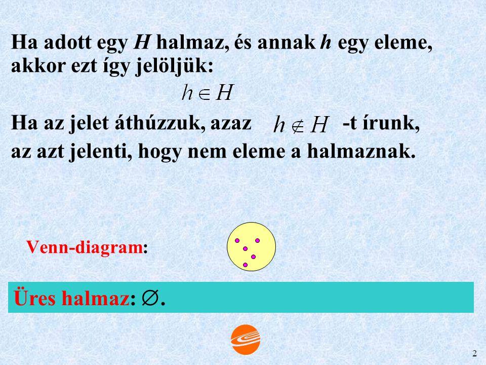 Ha adott egy H halmaz, és annak h egy eleme, akkor ezt így jelöljük: