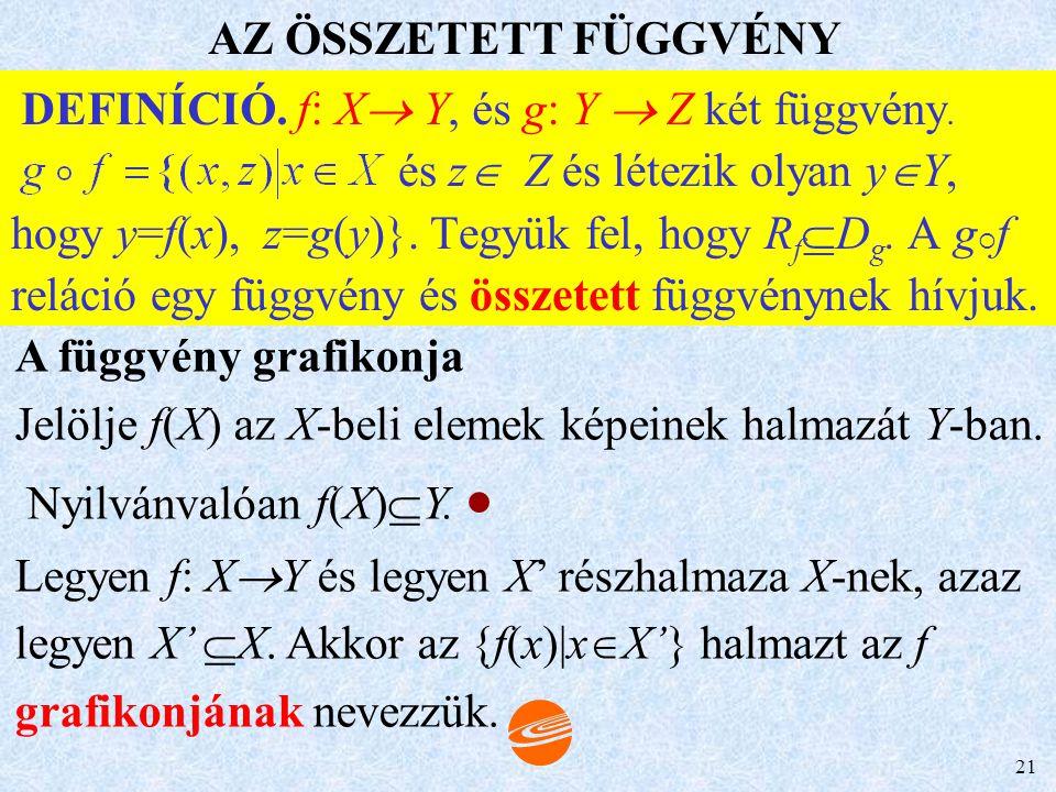 DEFINÍCIÓ. f: X Y, és g: Y  Z két függvény.