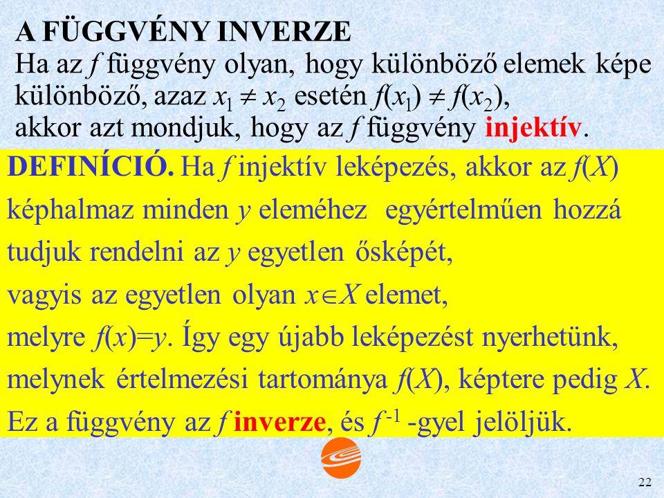 A FÜGGVÉNY INVERZE Ha az f függvény olyan, hogy különböző elemek képe. különböző, azaz xl  x2 esetén f(xl)  f(x2),