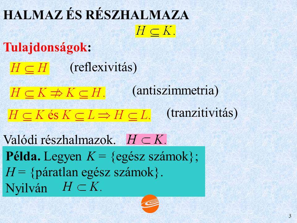 HALMAZ ÉS RÉSZHALMAZA Tulajdonságok: (reflexivitás) (antiszimmetria) (tranzitivitás) Valódi részhalmazok.