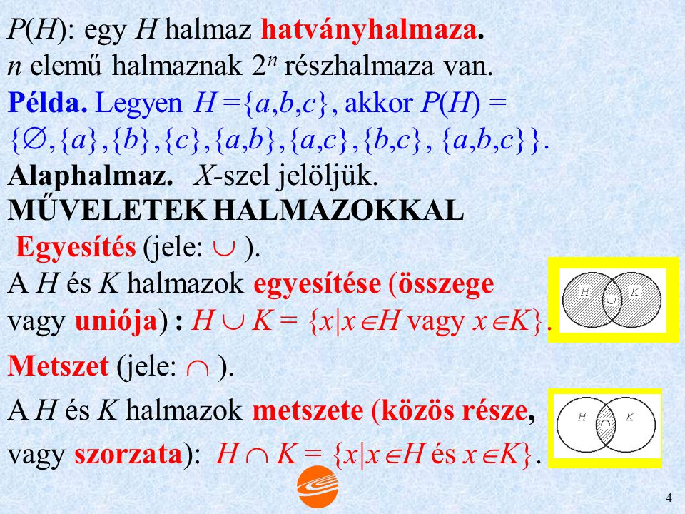 P(H): egy H halmaz hatványhalmaza.