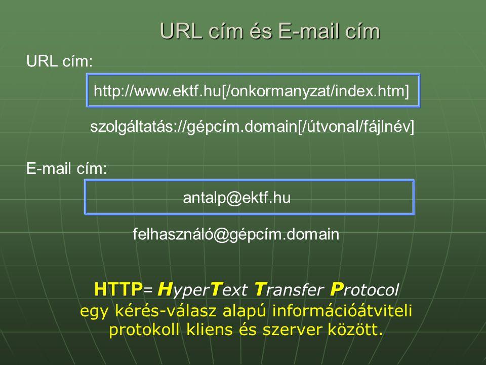 URL cím és E-mail cím HTTP= HyperText Transfer Protocol URL cím: