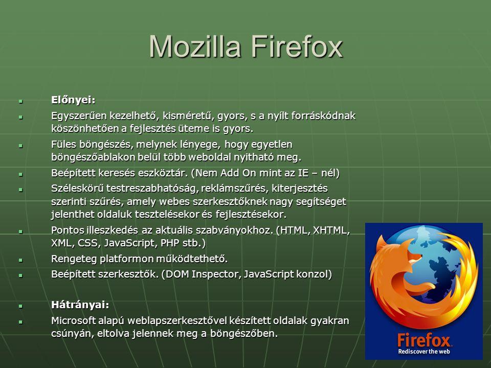 Mozilla Firefox Előnyei: