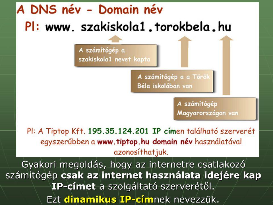Ezt dinamikus IP-címnek nevezzük.