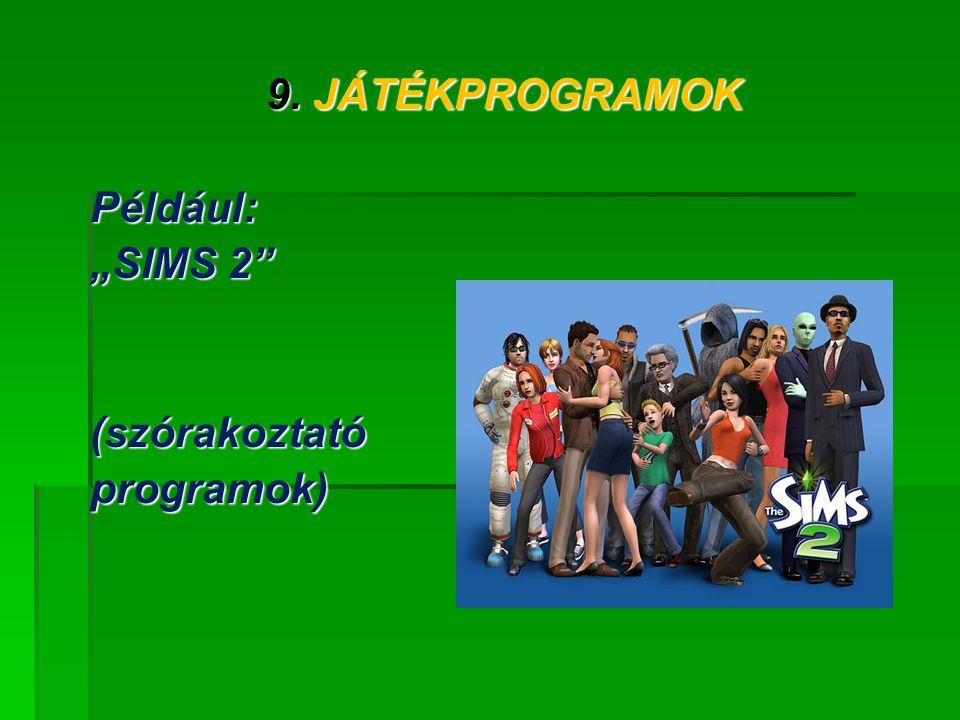 """9. JÁTÉKPROGRAMOK Például: """"SIMS 2 (szórakoztató programok)"""