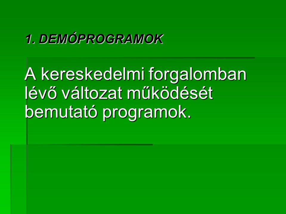 A kereskedelmi forgalomban lévő változat működését bemutató programok.