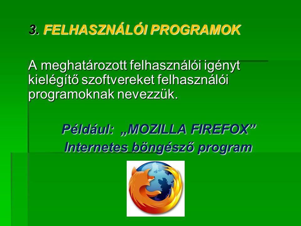 """Például: """"MOZILLA FIREFOX Internetes böngésző program"""