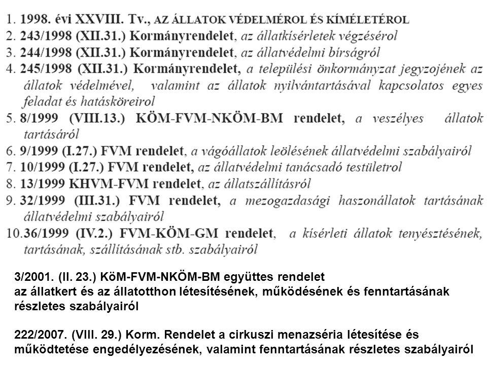 3/2001. (II. 23.) KöM-FVM-NKÖM-BM együttes rendelet