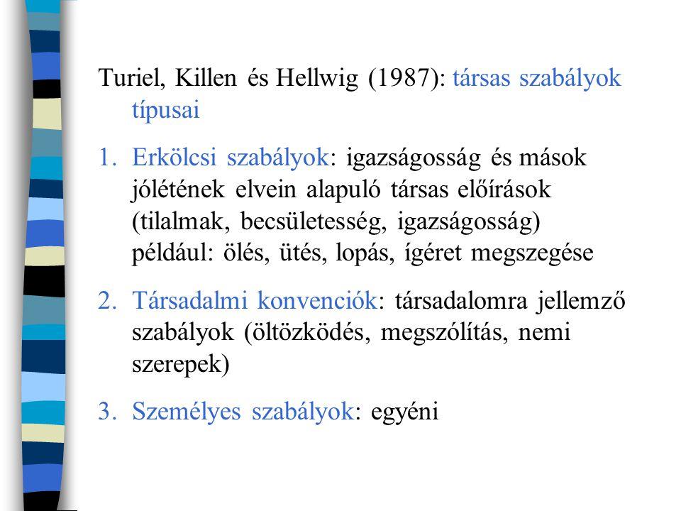 Turiel, Killen és Hellwig (1987): társas szabályok típusai