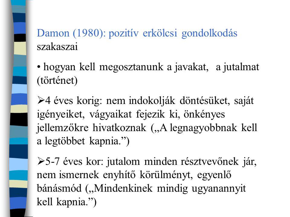 Damon (1980): pozitív erkölcsi gondolkodás szakaszai