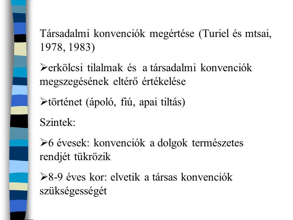 Társadalmi konvenciók megértése (Turiel és mtsai, 1978, 1983)