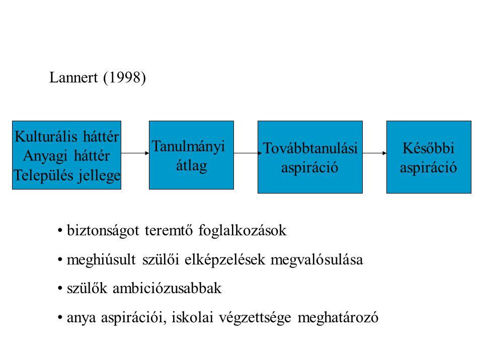 Lannert (1998) Kulturális háttér. Anyagi háttér. Település jellege. Tanulmányi. átlag. Továbbtanulási.