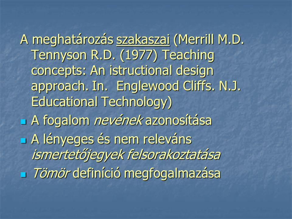 A meghatározás szakaszai (Merrill M. D. Tennyson R. D