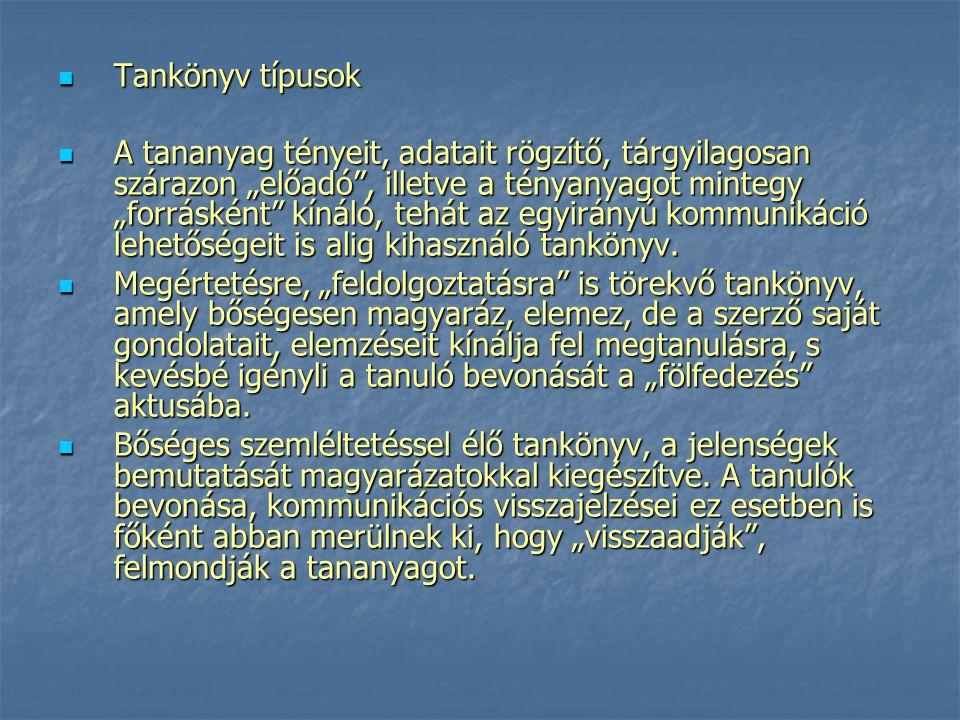 Tankönyv típusok