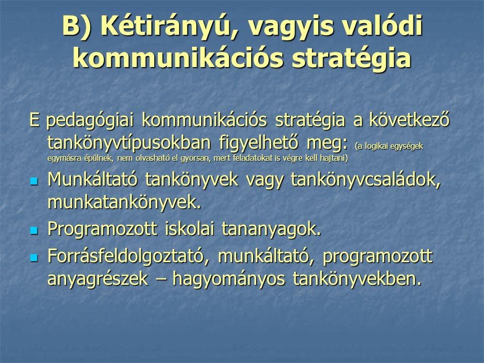 B) Kétirányú, vagyis valódi kommunikációs stratégia