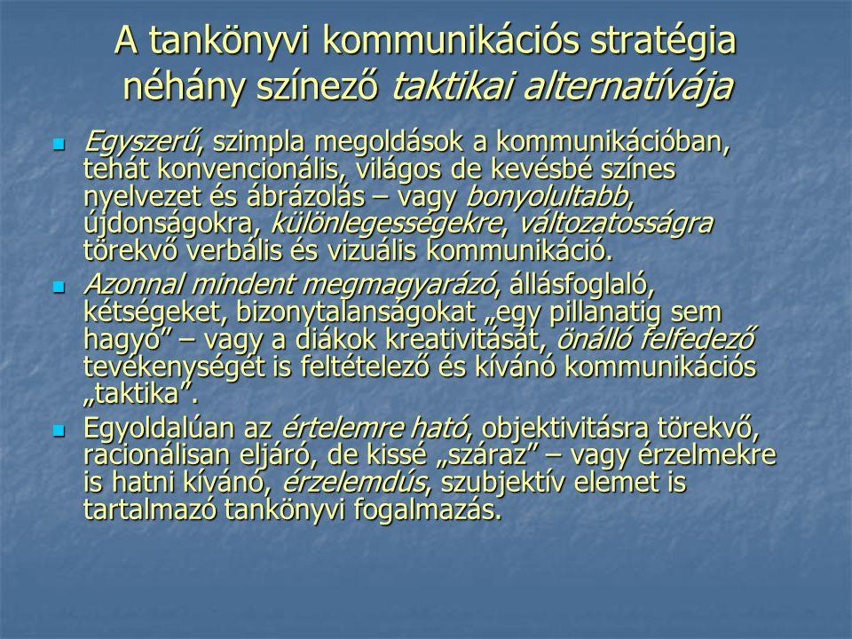 A tankönyvi kommunikációs stratégia néhány színező taktikai alternatívája