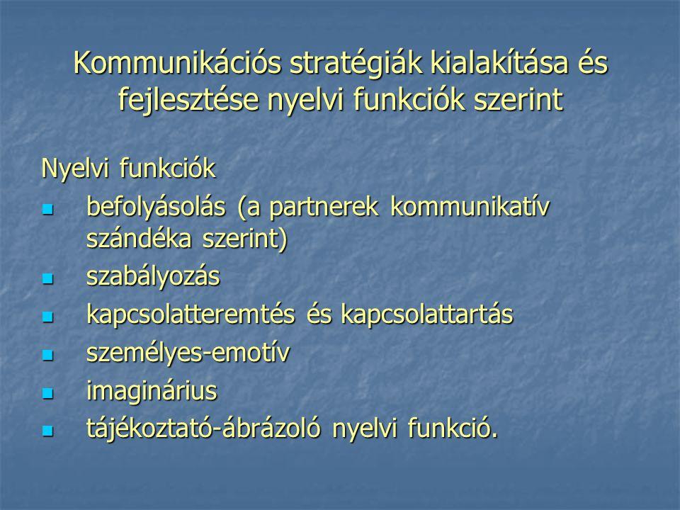 Kommunikációs stratégiák kialakítása és fejlesztése nyelvi funkciók szerint