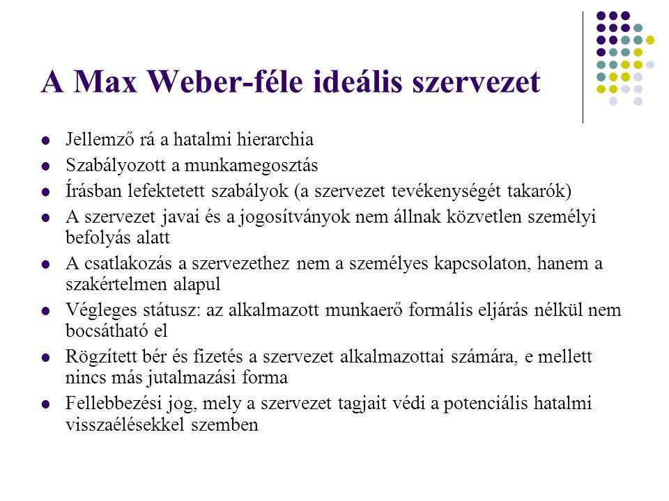 A Max Weber-féle ideális szervezet