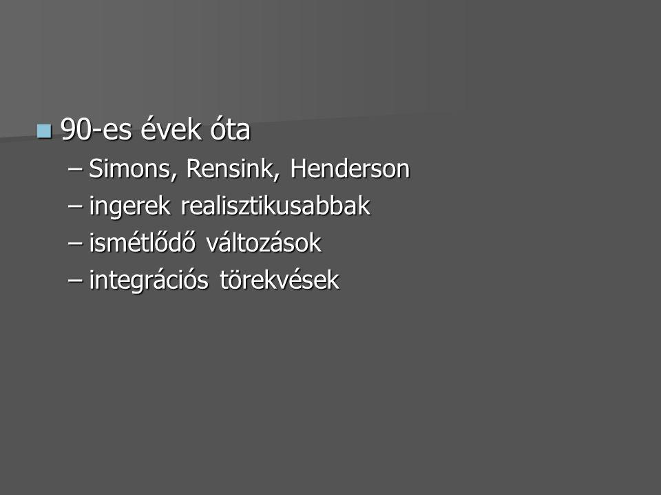 90-es évek óta Simons, Rensink, Henderson ingerek realisztikusabbak