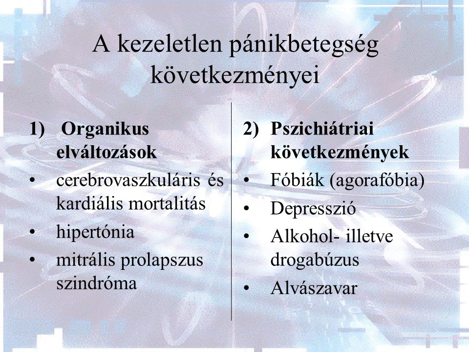 A kezeletlen pánikbetegség következményei