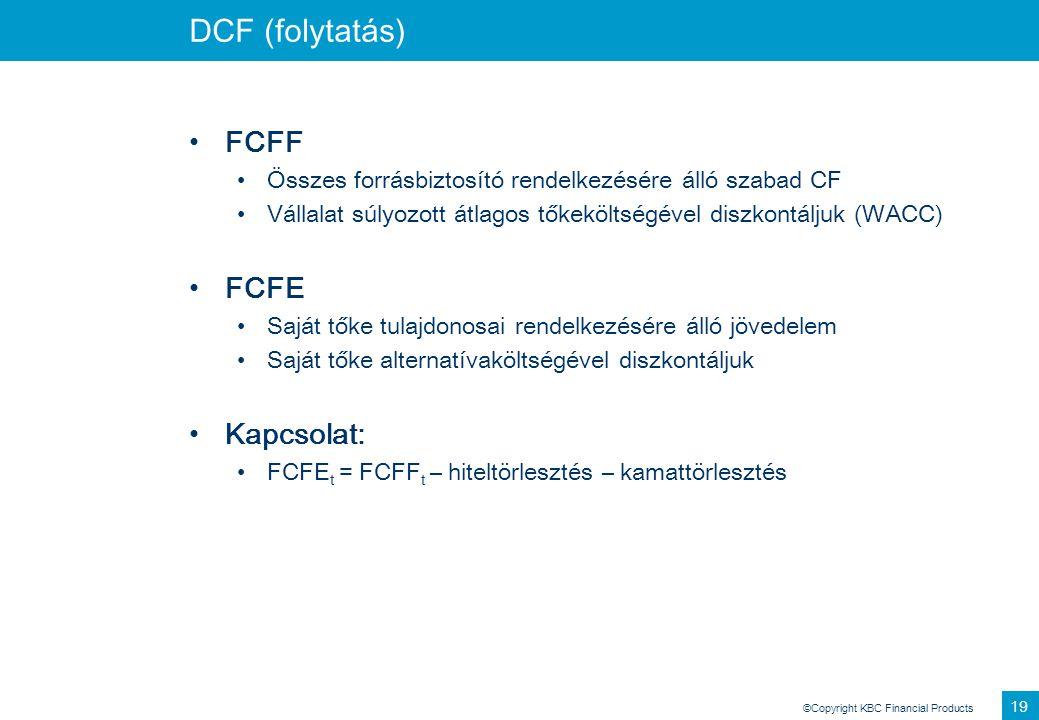 DCF (folytatás) FCFF FCFE Kapcsolat: