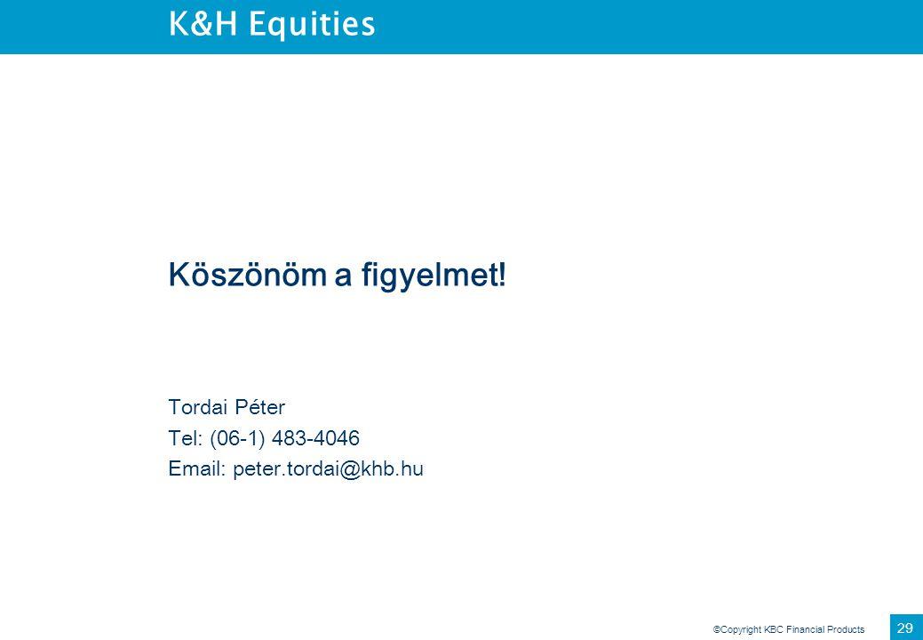 K&H Equities Köszönöm a figyelmet! Tordai Péter Tel: (06-1) 483-4046