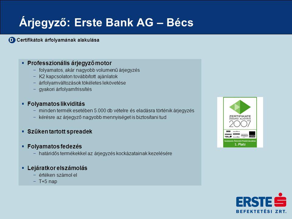Árjegyző: Erste Bank AG – Bécs