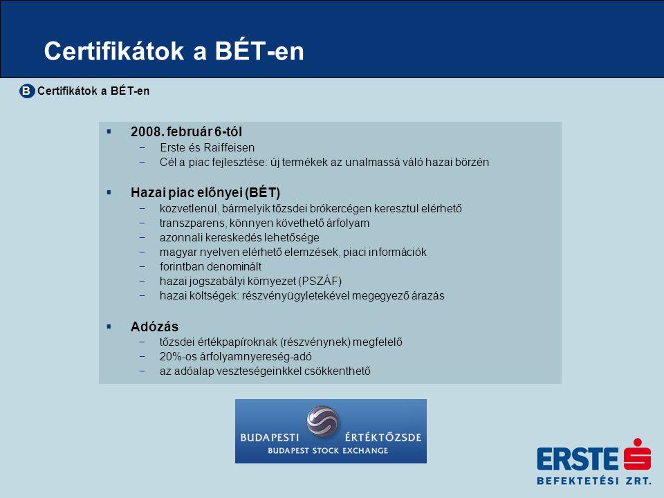 Certifikátok a BÉT-en 2008. február 6-tól Hazai piac előnyei (BÉT)