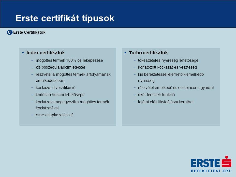 Erste certifikát típusok