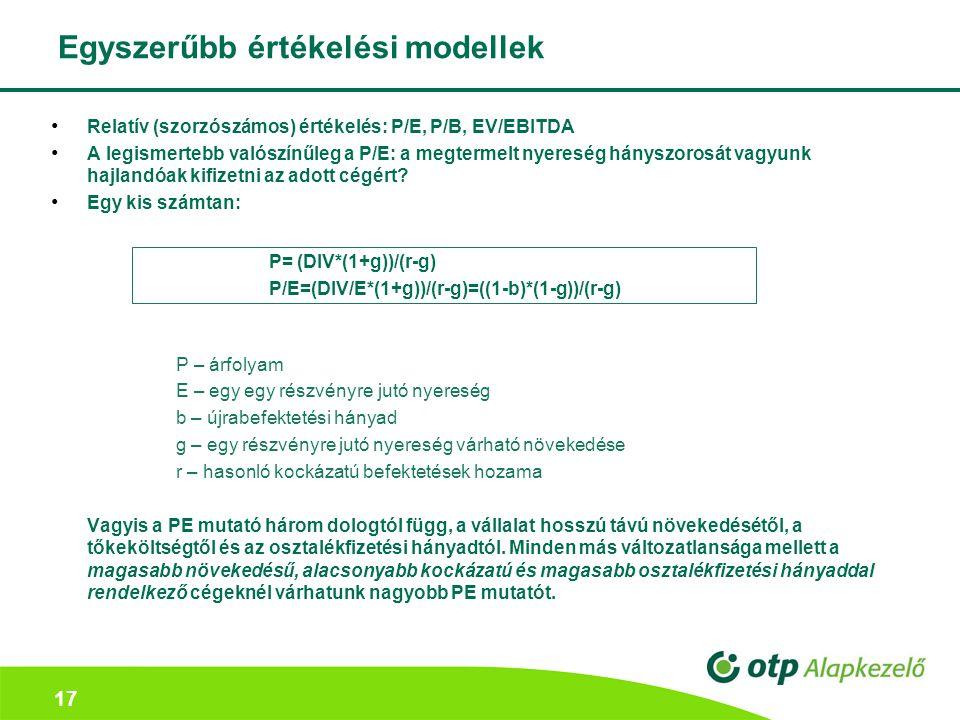 Egyszerűbb értékelési modellek