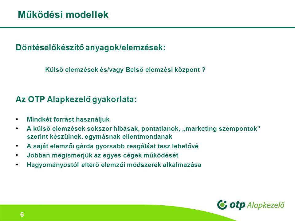 Működési modellek Döntéselőkészítő anyagok/elemzések: