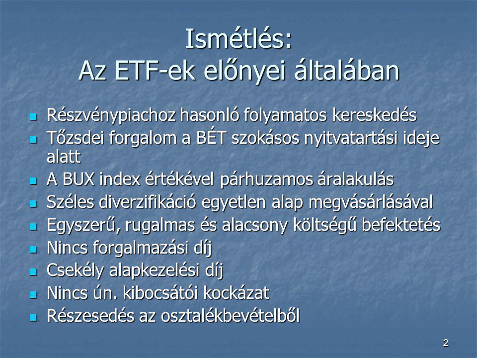 Ismétlés: Az ETF-ek előnyei általában