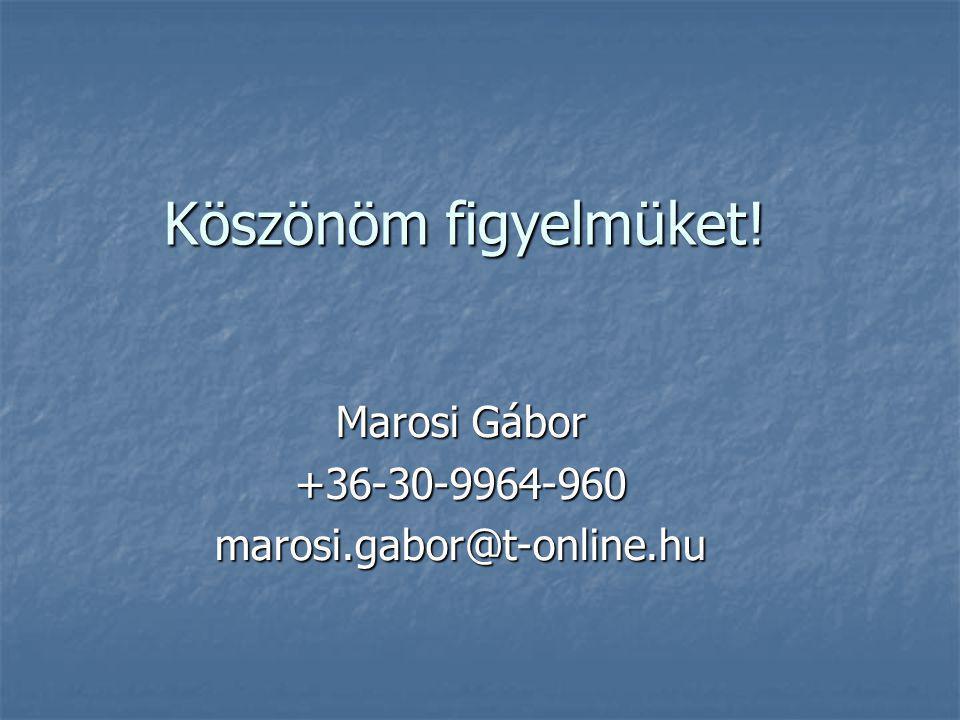 Marosi Gábor +36-30-9964-960 marosi.gabor@t-online.hu